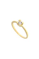 γυναικείο δαχτυλίδι, μονόπετρο με ζιργκόν, σε κίτρινο χρυσό Κ14 / 1DA2850