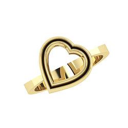 Δαχτυλίδι Δίδυμες καρδιές 2 / Ασημένιο, χειροποίητο, κίτρινο επιχρυσωμένο
