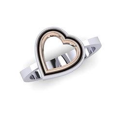 Δαχτυλίδι Δίδυμες Καρδιές 2 / Ασημένιο, χειροποίητο, δίχρωμο, λευκό - ροζ