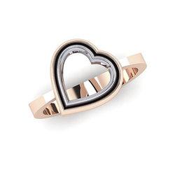Δαχτυλίδι Δίδυμες Καρδιές 2 / Ασημένιο, χειροποίητο, δίχρωμο, ροζ - λευκό