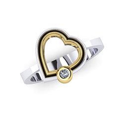 Δαχτυλίδι Δίδυμες Καρδιές 6 / Ασημένιο, χειροποίητο, δίχρωμο, λευκό - κίτρινο