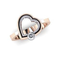 Δαχτυλίδι Δίδυμες Καρδιές 2 / Ασημένιο, χειροποίητο, δίχρωμο, ροζ - λευκό με ένα ζιργκόν
