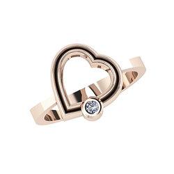 Δαχτυλίδι Δίδυμες Καρδιές 2 / Ασημένιο, χειροποίητο, ροζ επιχρυσωμένο με ένα ζιργκόν