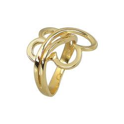 Μοντέρνο Δαχτυλίδι 38 με καρδιές / Ασημένιο, χειροποίητο, κίτρινο επιχρυσωμένο