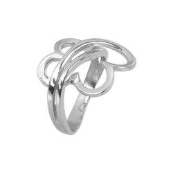 Μοντέρνο Δαχτυλίδι 38 με καρδιές / Ασημένιο, χειροποίητο, λευκό επιπλατινωμένο