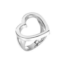 Μοντέρνο Δαχτυλίδι 39 περιγραφική καρδιά / Ασημένιο, χειροποίητο, λευκό επιπλατινωμένο