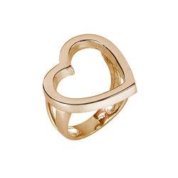 Μοντέρνο Δαχτυλίδι 39 περιγραφική καρδιά / Ασημένιο, χειροποίητο, ροζ επιχρυσωμένο