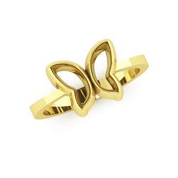 Νεανικό Δαχτυλίδι Πεταλούδα 1043 / Ασημένιο, χειροποίητο, κίτρινο επιχρυσωμένο