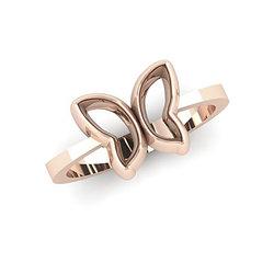 Νεανικό Δαχτυλίδι Πεταλούδα 1043 / Ασημένιο, χειροποίητο, ροζ επιχρυσωμένο