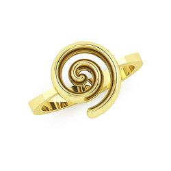 Νεανικό Δαχτυλίδι Σπείρα 1031 / Ασημένιο, χειροποίητο, κίτρινο επιχρυσωμένο
