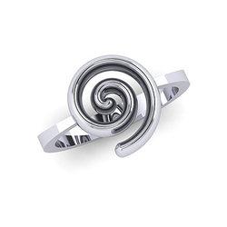 Νεανικό Δαχτυλίδι Σπείρα 1031 / Ασημένιο, χειροποίητο, λευκό επιπλατινωμένο