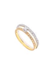 γυναικείο δαχτυλίδι, δίβερο,σειρέ, με ζιργκόν, δίχρωμο σε λευκό και κίτρινο χρυσό Κ14 / 1DA2818