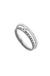 γυναικείο δαχτυλίδι, δίβερο, σειρέ, με ζιρκόν, δίχρωμο, σε λευκό και επιροδιωμένο - μαύρο χρυσό Κ14 / 1DA2819