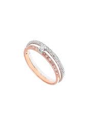 γυναικείο δαχτυλίδι, δίβερο, σειρέ, με ζιργκόν, δίχρωμο, σε λευκό και ροζ χρυσό Κ14 / 1DA2820