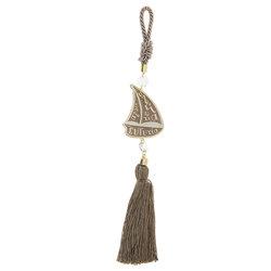 Διακοσμητικό Δώρο Γούρι για το Σπίτι και το Γραφείο, βάρκα με πανιά και ευχές, κατασκευασμένο από ορείχαλκο και δεμένο με κορδόνι και φούντα / 2ΔΙ0339