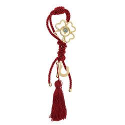 Διακοσμητικό Δώρο για το Σπίτι και το Γραφείο, Κλειδί με μάτι, κατασκευασμένο από ορείχαλκο και δεμένο με κόκκινο κορδόνι και φούντα / 2ΔΙ0324
