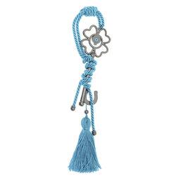 Διακοσμητικό Δώρο Γούρι για το Σπίτι και το Γραφείο, Κλειδί με μάτι, κατασκευασμένο από ορείχαλκο και δεμένο με τουρκουάζ κορδόνι και φούντα / 2ΔΙ0338
