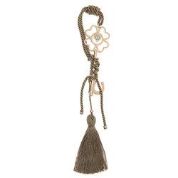 Διακοσμητικό Δώρο Γούρι για το Σπίτι και το Γραφείο, Κλειδί με μάτι, κατασκευασμένο από ορείχαλκο και δεμένο με κορδόνι στο χρώμα τού πούρου και φούντα / 2ΔΙ0359