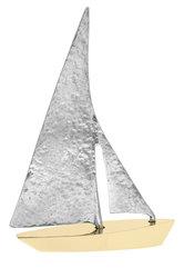 διακοσμητικό δώρο γραφείου - σπιτιού, από ορείχαλκο και ανακυκλωμένο αλουμίνιο, ιστιοφόρο με πανιά / 2ΚΡ0011