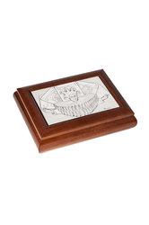 διακοσμητικό σπιτιού, ξύλινο κουτί για τράπουλες, με ασημένια παράσταση τού τζόκερ / 2ΚΤ0032
