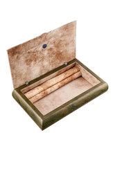 διακοσμητικό, σπιτιού ξύλινη μπιζουτιέρα με ασημένιο καπάκι ''φύλλο ελιάς'' / 2ΚΤ0033 - εσωτερική όψη
