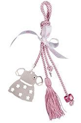 διακοσμητικό δώρο για το παιδικό δωμάτιο, φορεματάκι με μάτι, με σιέλ κορδόνι και φούντα,  για κοριτσάκια, κατασκευασμένο από νεάργυρο / 2ΔΙ0239 / 80 x 78 mm