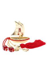 διακοσμητικό δώρο γραφείου - σπιτιού, από ορείχαλκο, βάρκα με πανιά, άγκυρα και σταυρό / 2ΔΙ0326