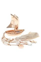 διακοσμητικό δώρο γραφείου - σπιτιού, από ορείχαλκο, βάρκα με πανιά, άγκυρα και σταυρό / 2ΔΙ0334 logo