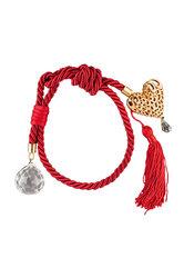 διακοσμητικό δώρο για το σπίτι, καρδια, κατασκευασμένη από ορείχαλκο, δεμένη με κόκκινο κορδόνι με κόμπους / 2ΔΙ0259