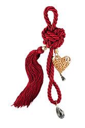 διακοσμητικό δώρο για το σπίτι,  καρδια, κατασκευασμένη από ορείχαλκο, δεμένη με κόκκινο κορδόνι με κόμπους / 2ΔΙ0260