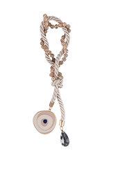 διακοσμητικό δώρο σπιτιού - γραφείου, μάτι με σμάλτο και εκρού κορδόνι, χειροποίητα κατασκευασμένο από ορείχαλκο / 2ΔΙ0270