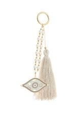 διακοσμητικό δώρο για το σπίτι και το γραφείο, μάτι με εκρού, και λευκό σμάλτο, δεμένα με πέρλες και χρυσαφί μπίλλιες, από ορείχαλκο / 2ΔΙ0280