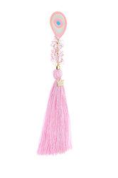 διακοσμητικό δώρο για το παιδικό δωμάτιο, μάτι με ροζ, λευκό και τυρκουάζ σμάλτο, δεμένο με ροζ φούντα και κρύσταλλα, από ορείχαλκο / 2ΔΙ0284