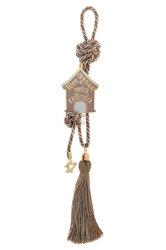 διακοσμητικό δώρο για το σπίτι και το γραφείο, σπιτάκι με ευχές, κατασκευασμένο από ορείχαλκο και δεμένο με κορδόνι και φούντα / 2ΔΙ0336