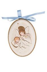 κεραμική εικόνα, ανάγλυφη, με νωπογραφία, Άγγελος - Βρέφος  / 2ΕΙ0179 A