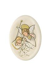 κεραμική εικόνα, ανάγλυφη, με νωπογραφία, Άγγελος - Βρέφος  / 2ΕΙ0183