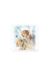 εικόνα Άγγελος - Βρέφος ζωγραφισμένη σε ξύλο με ασημένιο αστέρι και 3 στρας / 2ΕΙ0186 / 80 x 80 mm