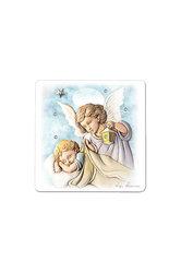 εικόνα Άγγελος - Βρέφος, ζωγραφισμένη σε ξύλο με ασημένιο αστέρι και 4 στρας / 2ΕΙ0225 / 125 x 125 mm