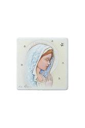εικόνα Παναγία με πέπλο, ζωγραφισμένη σε ξύλο με ασημένιο αστέρι και 5 στρας / 2ΕΙ0224 / 125 x 125 mm