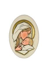 κεραμική εικόνα, ανάγλυφη, με νωπογραφία, Παναγία - Θείο Βρέφος / 2ΕΙ0182