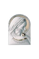 θρησκευτική καθολική εικόνα πίστης Παναγία Βρεφοκρατούσα, ανάγλυφη, σε ασήμι 925' με επίχρυσα στοιχεία / 2ΕΙ0212 / 180 x 250 mm