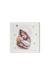 εικόνα Παναγία Γλυκοφιλούσα, ζωγραφισμένη σε ξύλο με ασημένιο αστέρι και 5 στρας / 2ΕΙ0226 / 125 x 125 mm