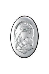 θρησκευτική καθολική εικόνα πίστης Παναγία Γλυκοφιλούσα, oval, ανάγλυφη, σε ασήμι 925' / 2ΕΙ0238 / 110 x 150 mm