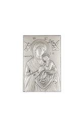 θρησκευτική ορθόδοξη εικόνα πίστης Παναγία Αμόλυντος, ανάγλυφη, σε ασήμι 925' / 2ΕΙ0254 / 100 x 150 mm