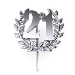 Επετειακή Καρφίτσα Γούρι 21 για τα 200 χρόνια από την Ελληνική Επανάσταση / Ασημένια, χειροποίητη, λευκή επιπλατινωμένη