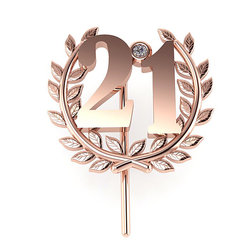 Επετειακή Καρφίτσα Γούρι 21 για τα 200 χρόνια από την Ελληνική Επανάσταση / Ασημένια, χειροποίητη, ροζ επιχρυσωμένη