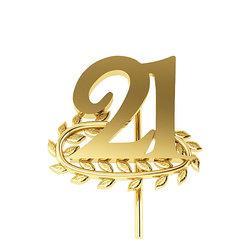 Επετειακή Καρφίτσα Γούρι 21 με Κλαδί Δάφνης για τα 200 χρόνια από την Ελληνική Επανάσταση / Ασημένια, χειροποίητη, κίτρινη επιχρυσωμένη