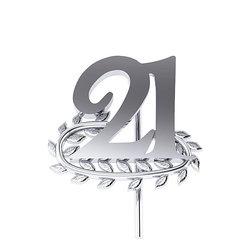 Επετειακή Καρφίτσα Γούρι 21 με Κλαδί Δάφνης για τα 200 χρόνια από την Ελληνική Επανάσταση / Ασημένια, χειροποίητη, λευκή επιπλατινωμένη