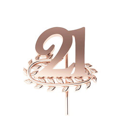 Επετειακή Καρφίτσα Γούρι 21 με Κλαδί Δάφνης για τα 200 χρόνια από την Ελληνική Επανάσταση / Ασημένια, χειροποίητη, ροζ επιχρυσωμένη