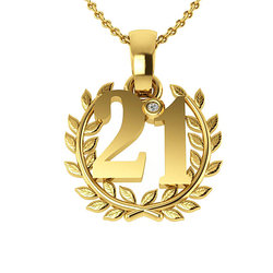 Επετειακό Μενταγιόν Γούρι 21 Δαφνοστεφανωμένο για τα 200 χρόνια από την Ελληνική Επανάσταση / Ασημένιο, χειροποίητο, επιχρυσωμένο - 01